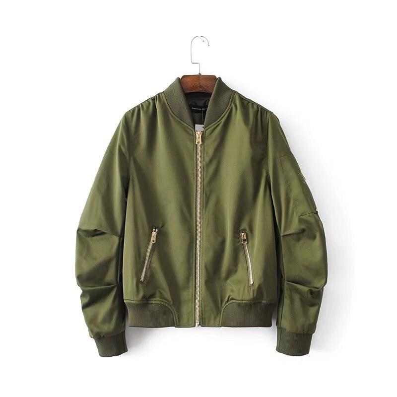 Casual Bomber   Jacket   Coat Women   Basic     Jacket   Pocket Zipper Windbreaker Tops Fashion Thin Slim Coat Female Stand Collar Outerwear