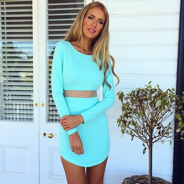 2015 Summer Women Fashion Print Dress Sexy Long Sleeves Mini Dress
