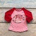 Niñas bebés de algodón v-day raglans algodón niñas boutique rangalns niños Jesús es el amor día de Valentien raglans raglans