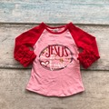 baby girls cotton V-day raglans girls boutique cotton rangalns children Jesus is love raglans Valentien's day raglans