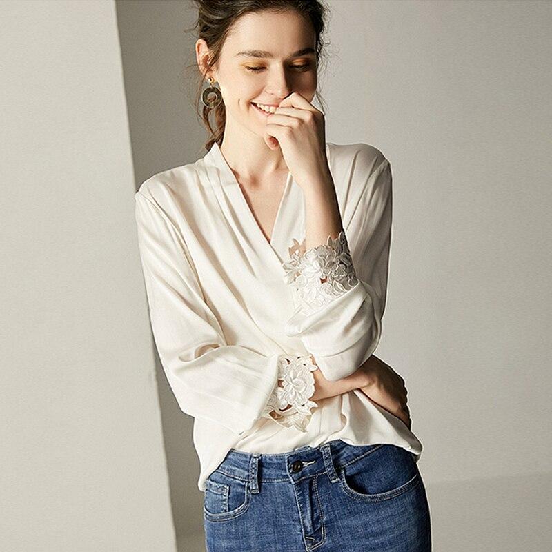 100 Silk Blouse Women White Shirt Elegant Design Solid V Neck Embroidery Long Sleeves Office Top