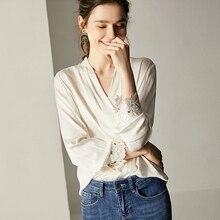 Blusa de manga larga de seda para oficina, camisa blanca con cuello de pico bordado, elegante, última novedad, 100%