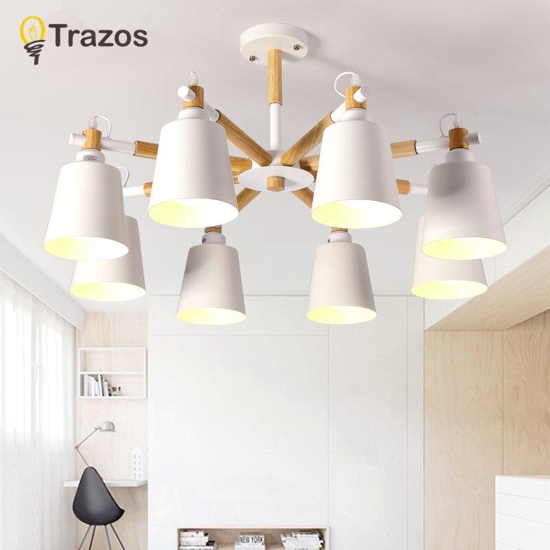 TRAZOS Northern Europe Wood LED Ceiling Lights Living Room Bedroom Children's Room Ceiling Lamp Modern Lustres De Sala Plafon