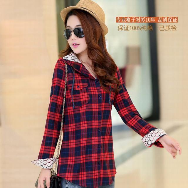 bb76a09a24e Tops Blusa Camisa Femininas outono algodão Camisa xadrez de flanela de  manga comprida com capuz camisas