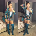 New fashion elegant 2016 2 piece women playsuit full sleeve short print rompers overalls sexy women sets