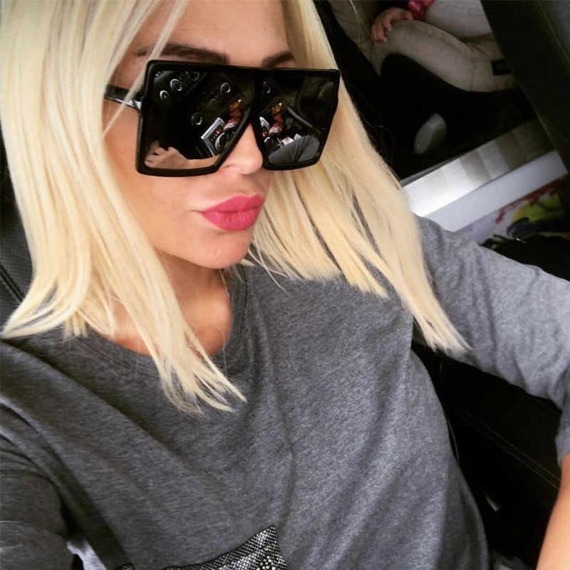 670793a4f7 2018 men and women general luxury large square Sunglasses ladies dress  designer retro mirror large frame
