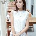 HOT 2016 New arrival summer new Korean Slim lace stitching sleeveless chiffon shirt Women Hollow-Out Loose Tops Shirt S-XXL 820C