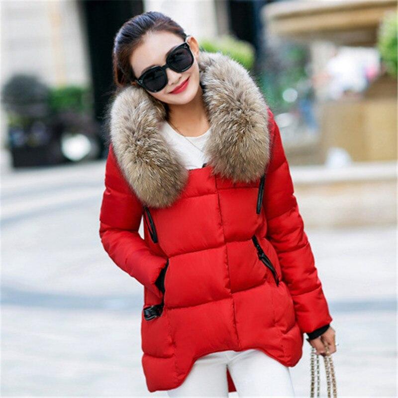 ФОТО Women's Winter Coat Nagymaros Collar Hooded Women Down Winter Jacket Asymmetric Length Loose Cotton Padded Jacket TT262