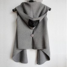autumn winter women vest with hood knitted woman vest sweater cardigan cape sleeveless  black,light dark grey