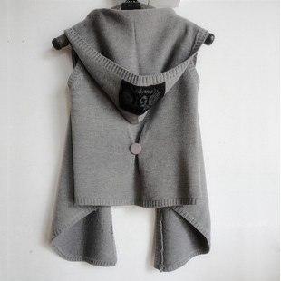 2016 Nueva Otoño Invierno Mujeres Chaleco con capucha de punto de mujer suéter chaleco del cabo de la rebeca ropa de abrigo sin mangas negro, oscuro luz gris