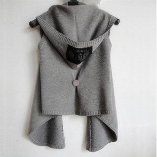 2018 nueva Otoño Invierno mujeres chaleco con capucha de punto Mujer suéter chaleco  capa cardigan sin mangas abrigos negro 4f57661f42fc