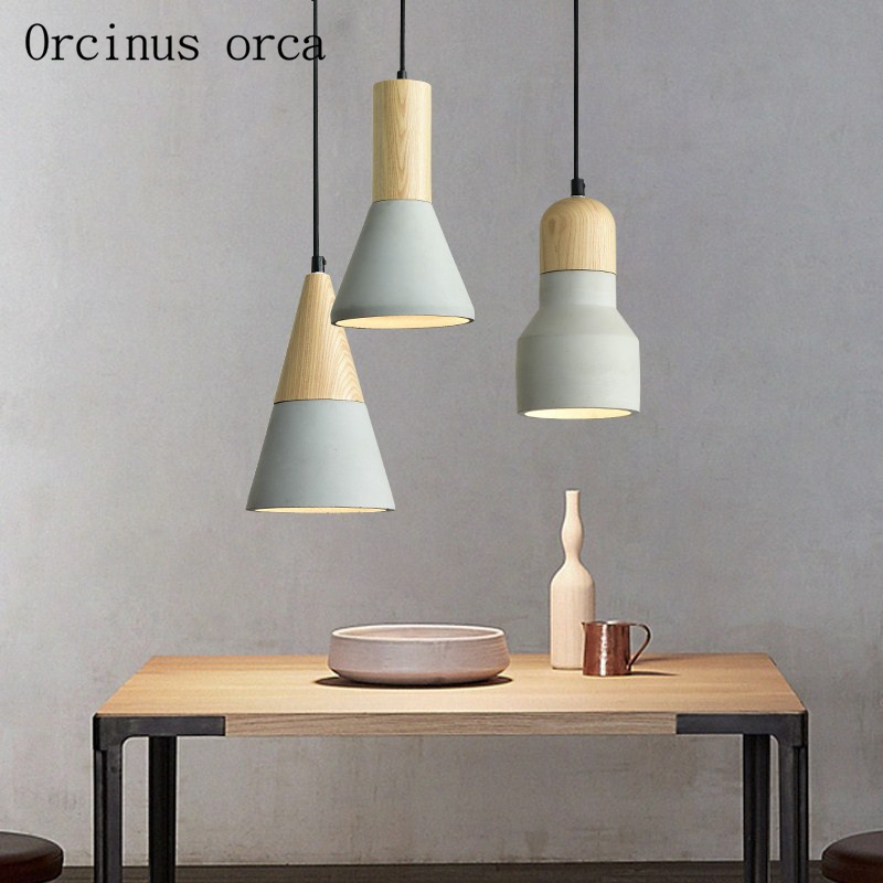 Nordic creative cement chandelier dining bar bar corridor modern simple solid wood single head LED Chandelier free shipping   Nordic creative cement chandelier dining bar bar corridor modern simple solid wood single head LED Chandelier free shipping