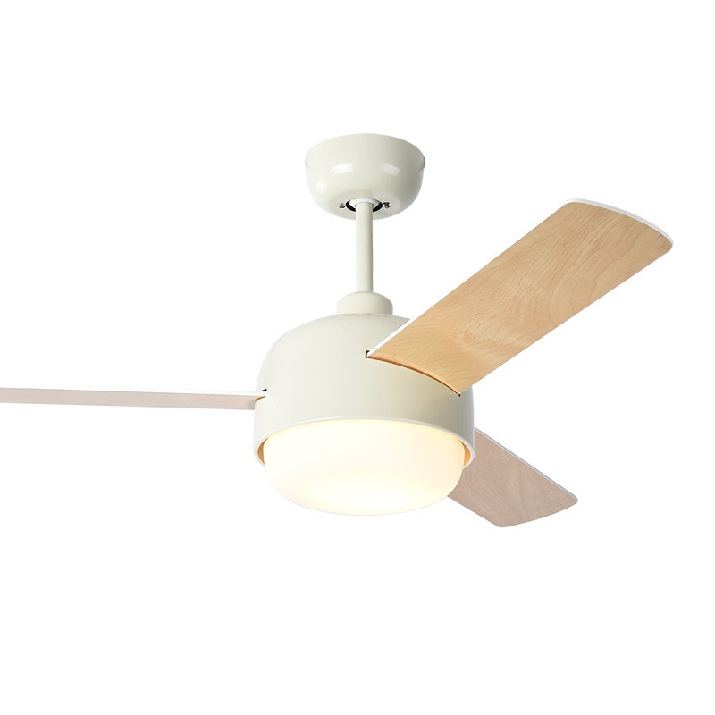 LukLoy Nordic Log Fan Lamp Simple Modern Restaurant Pendant Lamp Fan Bedroom Dinning Room America Electric Ceiling Fan LED Light