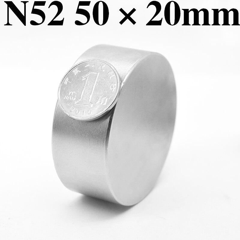 HYSAMTA 1 piezas N52 imán de neodimio de 50x20mm super fuerte disco redondo de la tierra rara poderoso galio metal imanes medidores de agua altavoz