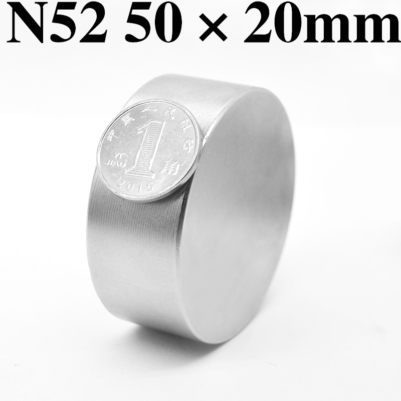 HYSAMTA 1pcs N52 Neodymium Magnet 50x20mm Super Strong Round Disc Rare Earth Powerful Gallium Metal Magnets Water Meters Speaker
