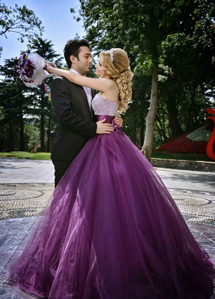 2016 new fashion a line strapless purple wedding dress tulle with 2016 new fashion a line strapless purple wedding dress tulle with crystal bow court train nikah arabic wedding gowns in wedding dresses from weddings junglespirit