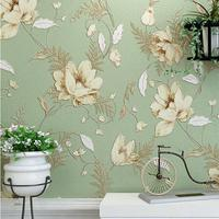 Mediterranean American Non Woven Wall Paper Vintage Pastoral Floral Wallpaper Roll Bedroom Background Decor