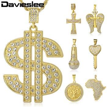 Davieslee para Miami Cadena de EE. UU. El símbolo de dólar colgante collar dorado hip-hop joyería helado pavimentado de LGPM08