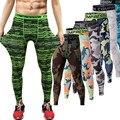 2016 Homens Calças De Compressão Calças Justas Musculação Casual Mans Marca Camuflagem Verde Do Exército Leggings Magras
