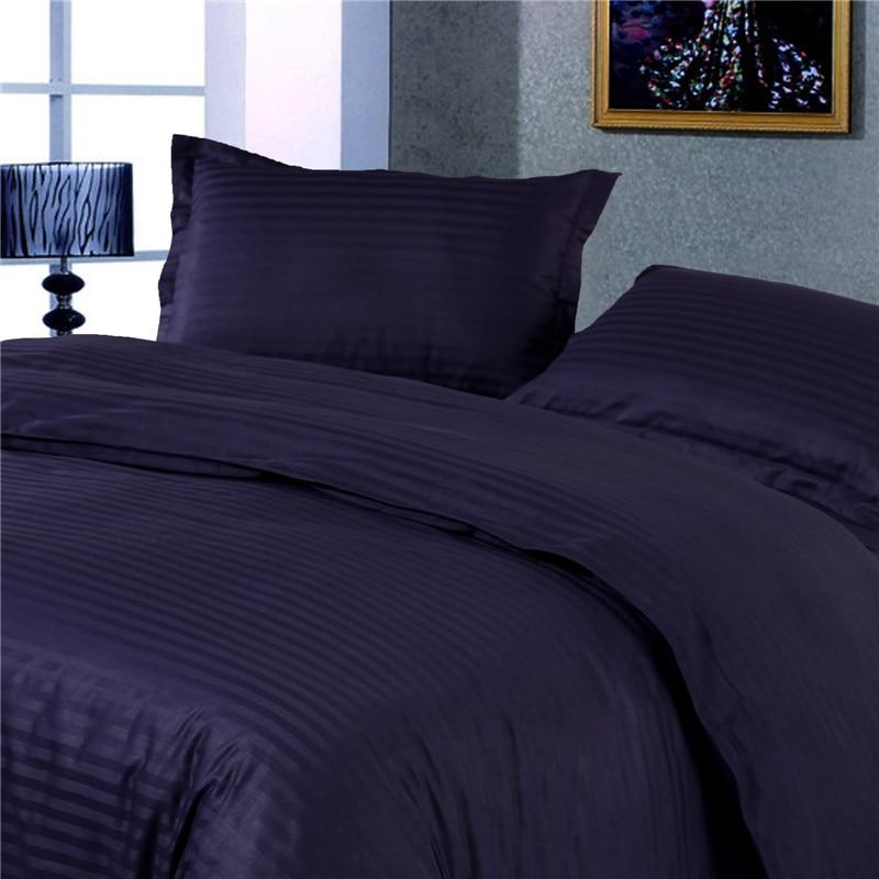 1cm Satin Deep Blue Color 100 Cotton Duvet Cover Set