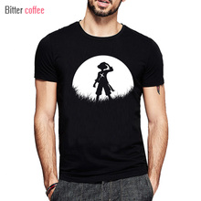 NEW 2017  Moon Straw Hat Luffy T Shirt O-Neck Popular One Piece Luffy T-Shirt Cotton Tops & Tees XS-XXL