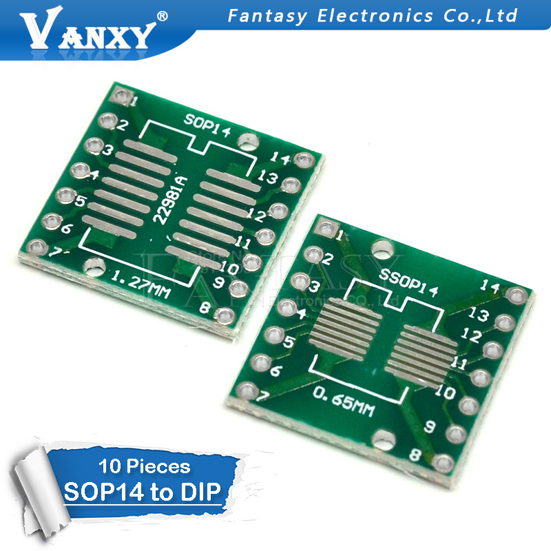 10PCS TSSOP14 SSOP14 SOP14 To DIP14 PCB Transfer Board DIP Pin Board Pitch Adapter