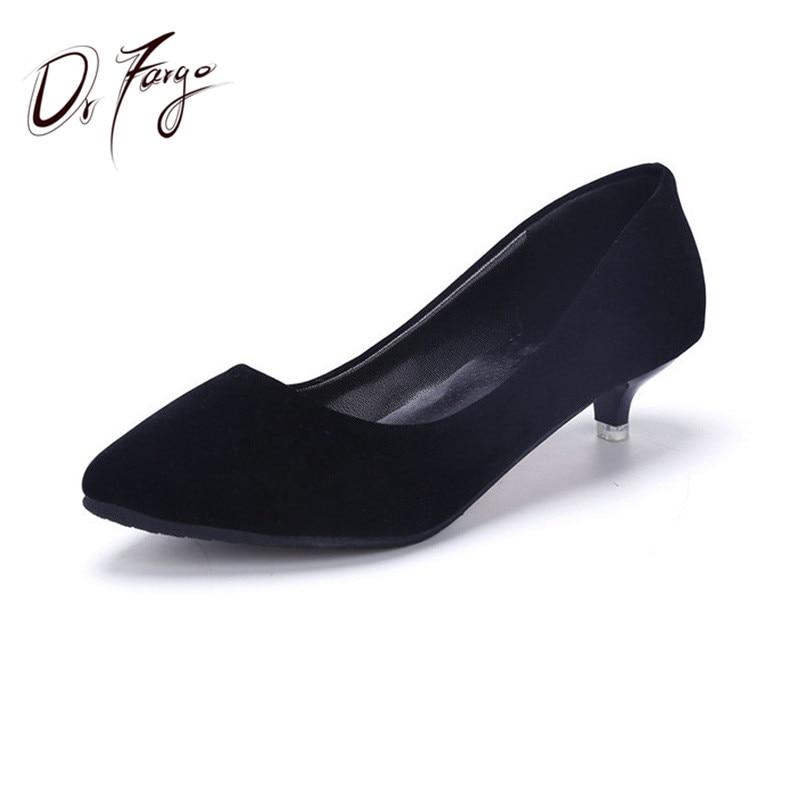 DRFARGO Mujeres Bombas 3cm Kitten Heels Oficina y carrera Zapatos de trabajo sapato feminino Clásicos Slip-On Shallow Femme Chaussure talon8