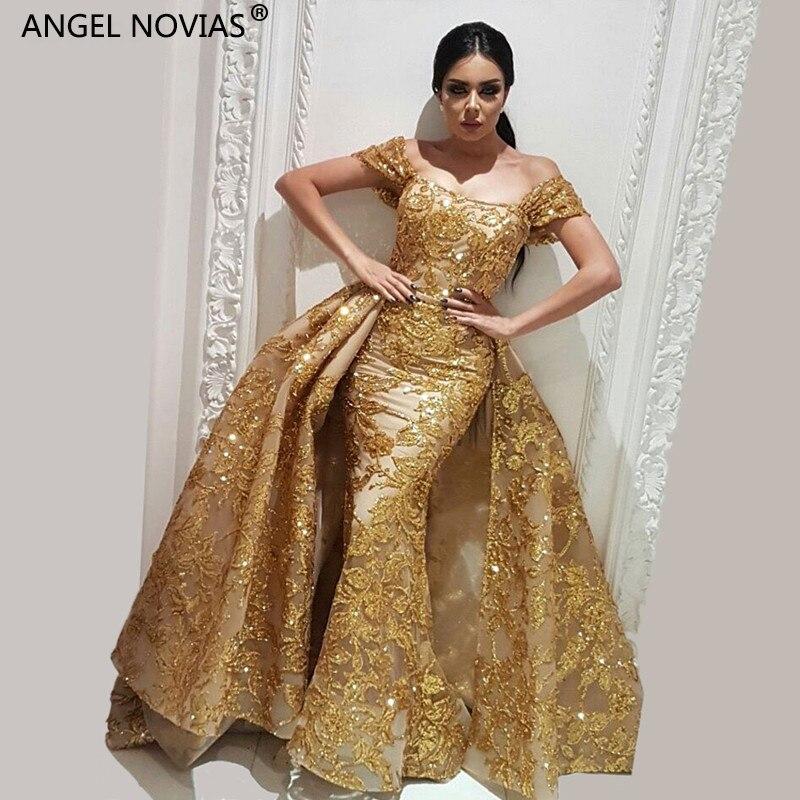 Vestidos Largos De Noche De ángel Novias Sirena Oro