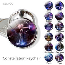 Handmade Jewelry Zodiac Keychain 12 Constellations Pendant Keyring Scorpio Sagittarius Capricorn Aquarius Birthday Gift Women(China)