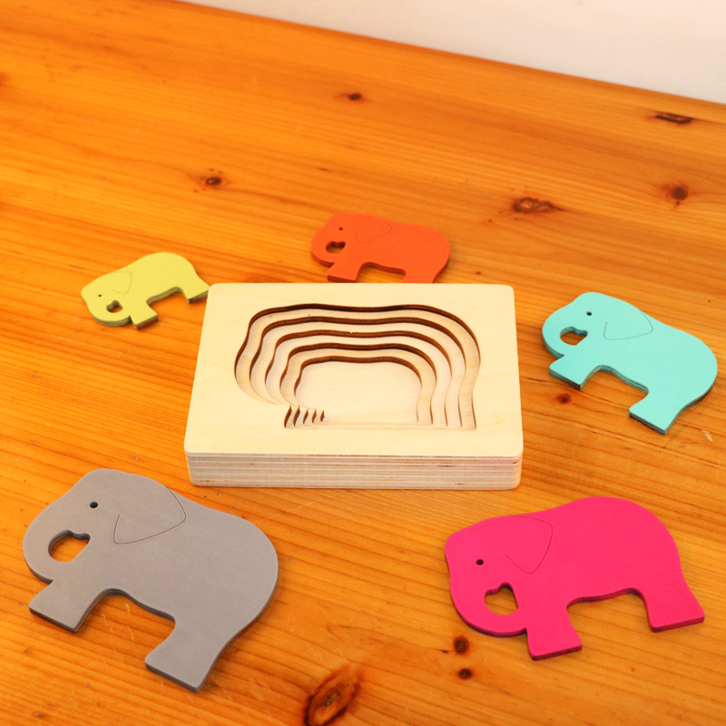 Dropshipping Animal Puzzles For Kids Toys Rabbit/Whale/Elephant Puzzle Enfant Wooden Toys Montessori Educational Gradation Gift 7