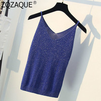 Sexy V-Neck Women's Summer Knit Top Fashion All-Match Lady Base Camis Good Quality Lurex Loose Knitted Bottom Tanks Tops 2019