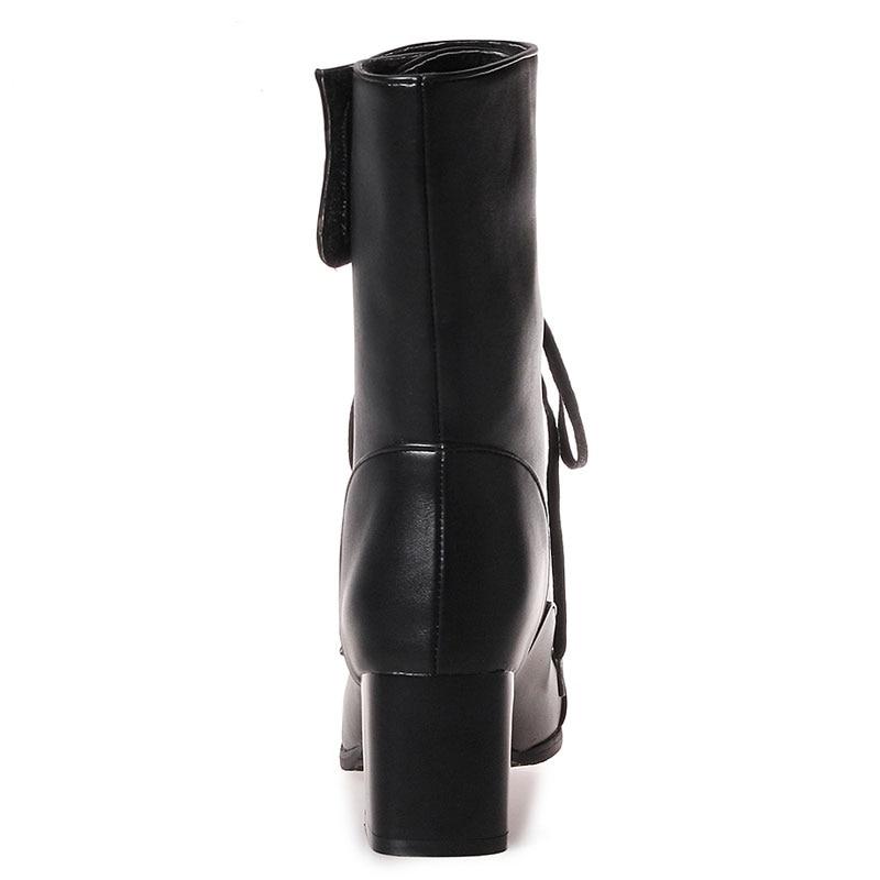 US $31.85 46% OFF|Fanyuan Plus Größe 32 46 Plattform High Heels Stiefel Lace Up Blockabsatz Stiefeletten für Frauen Neue Mode Perle Kurze Booties in