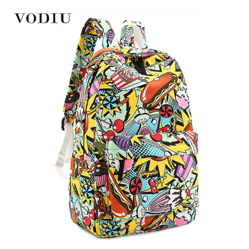 2017 Fashion Harajuku Graffiti Printing Canvas Backpack Large Zipper School Bags Teen Girl Boys Laptop Casual Mochilas Men Women 2017 harajuku style galaxy cosmos zipper canvas women men backpacks printing school bags teens girls boys travel large mochila