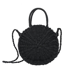 Straw bag beach bag round large big summer bags women natural shoulder handbag 2018 new high quality black khaki color цена и фото
