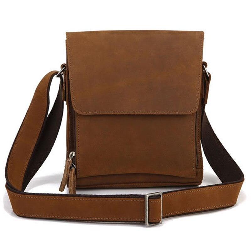 Lässige Klappe Rindsleder Funktions Männer Umhängetasche Vintage Tasche Leder Brown Kuh Echtem Schulter OfO6z7