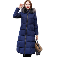 2018 Fashion Warm Winter Jacket Women Big Fur Thick Slim Female Jacket Winter Women Hooded Coat Down Parkas Long Outerwear CM446