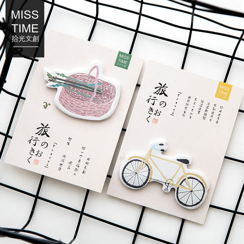 2 X Bicycle travel memo pad paper sticky notes notepad post stationery papeleria school supplies material escolar