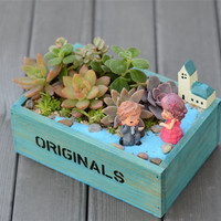 Home Decoration ZAKKA Storage Box Wood Retro Do Old Square Flowerpots Meaty Plant Floral Organ Containers