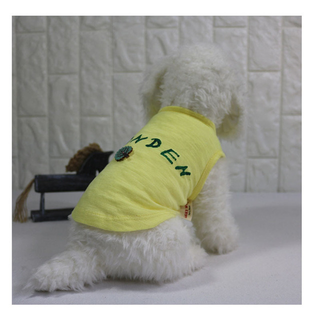 Pet Dog Clothes Summer Dog T-shirt Handmade Print Vest for Small Dogs Soft Cotton Puppy Clothing Lemon Yellow Color