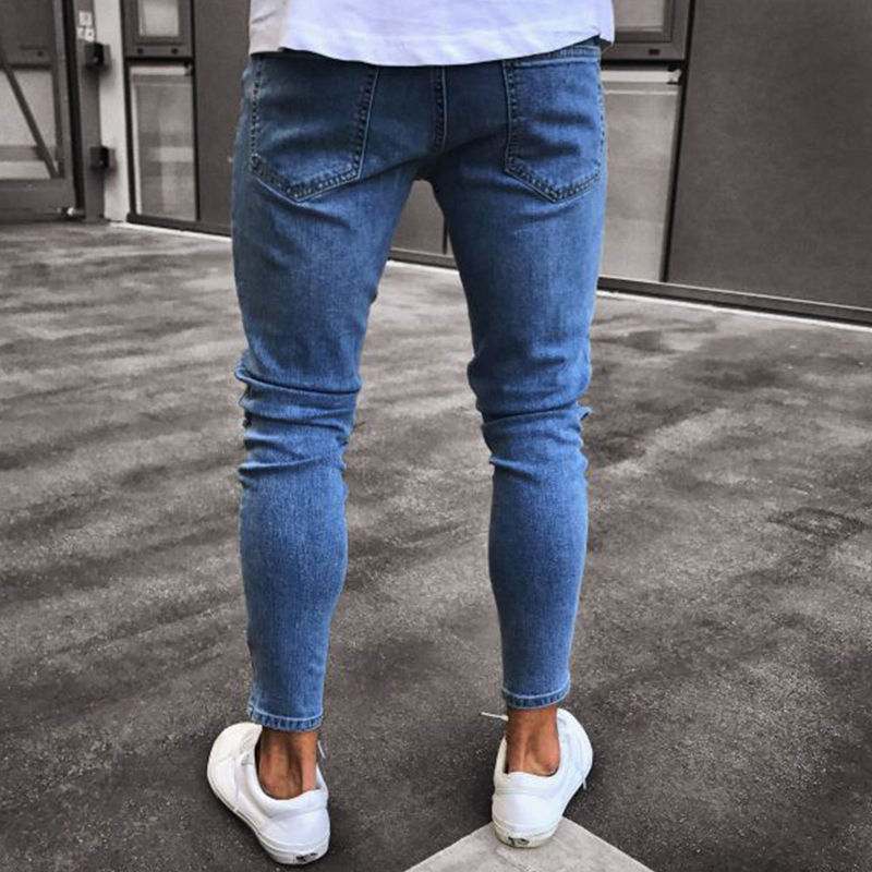 Hole Embroidered Jeans Slim Men Trousers New Men's Casual Thin Summer Denim Pants Classic Cowboys Young Man Black Blue #3