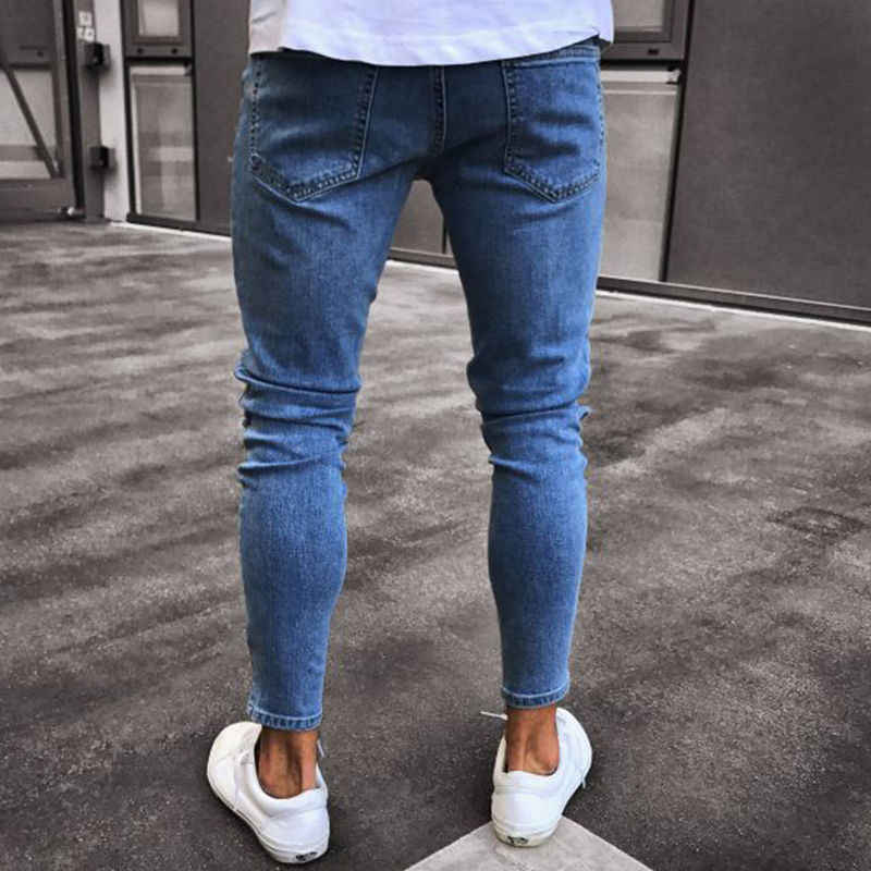 c58501a1bc ... hole embroidered jeans Slim men trousers NEW 2019 men s Casual Thin  Summer Denim Pants Classic Cowboys ...