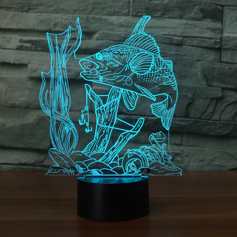 LED Underwater Fish Ready to Catch Lamp 7 Changing Colors 3d illusion night lamp
