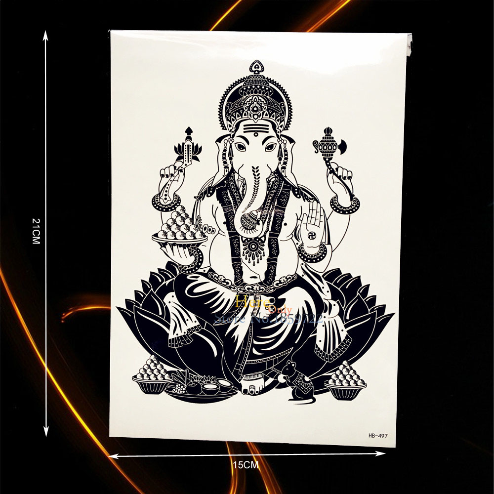 1pc Large Black Elephant God Ganesha Tattoo Lotus Flower Arm Art