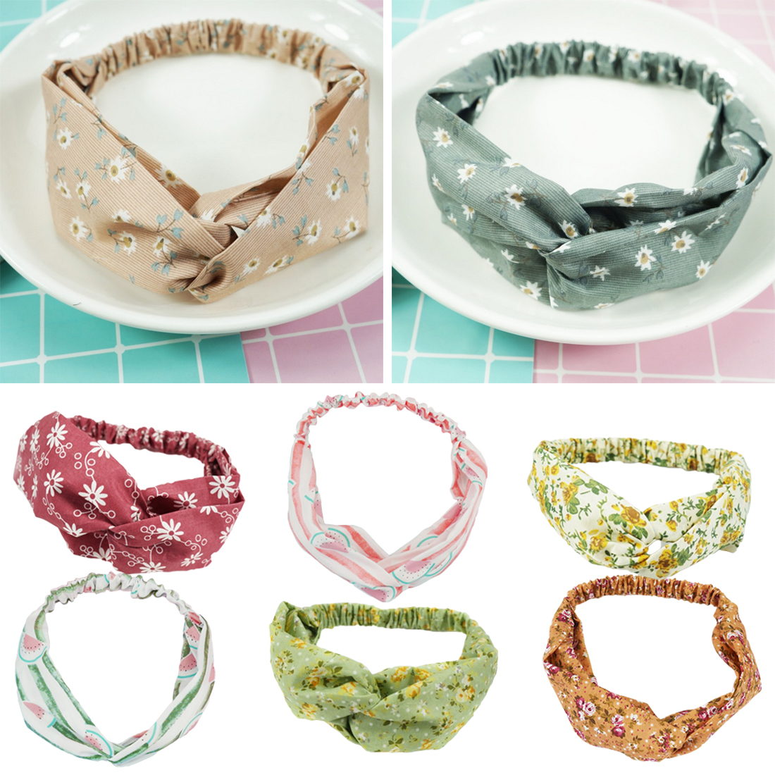 Headband Elastic Grid Hairband Stretch Bows Hair Decoration for Mother and Baby