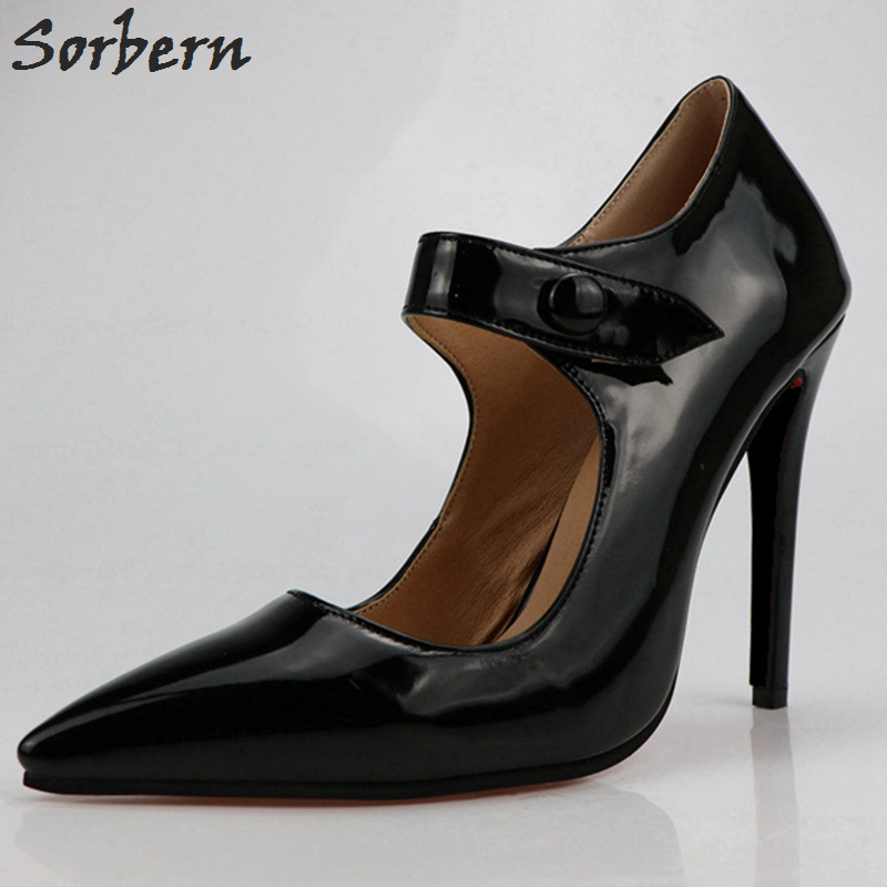 Sorbern Fashion Black Women Dress Shoes Womans Pumps Plus Size High Heel High Quality Shoes Diy Colors 2018 Mary Janes Shoes
