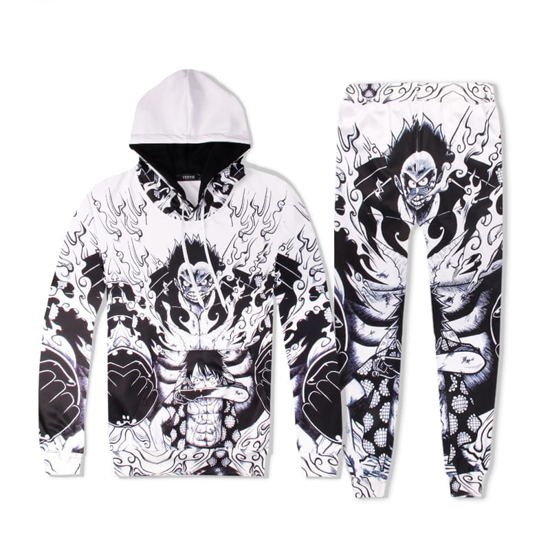 Anime M.D. Luffy Gear Fourth Costume Hoodies Men Sets 3D Tracksuits Sweatpants 2PCS Hooded Sweatshirts Pullovers+Jogger Pants