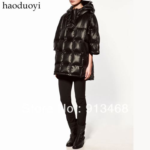 58803f63566b haoduoyi Cloak type down coat outerwear thickening down coat poncho hooded  half sleeve down coat 3 5