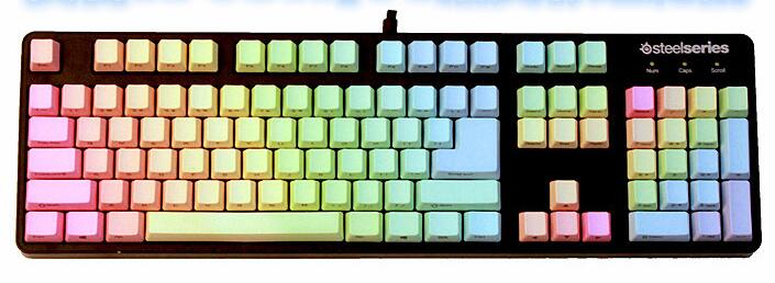 KBC PBT Keycaps Rainbow 104 keycaps Top/Inside Printing Steelseries 7G/6GV2 for Mechanical Gaming Keyboard