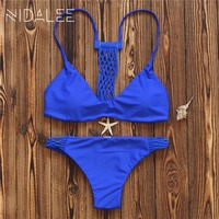 New Summer Style Women Swimwear 2017 Bikini Set Sexy Bandage Printed Bathing Suits Push Up Brazilian
