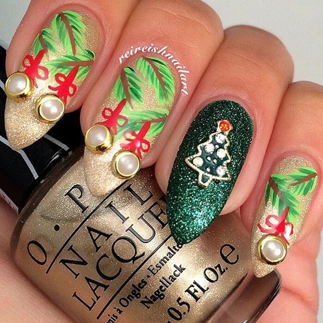 10pcs Gold Christmas Tree With Glitter Ab Rhinestone Festival Charm